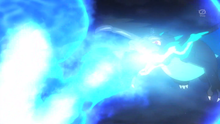 Mega-Charizard X usando lanzallamas.