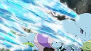 EP873 Quagsire, Lotad, Wooper y Gulpin usando pistola agua.png