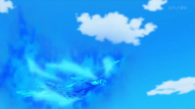 Talonflame de Ash usando pájaro osado.