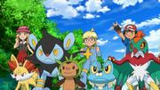 EP853 Ash Serena y Lem con sus Pokémon.png