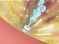 Piplup usando rayo Burbuja.