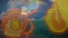 Pikachu de Ash usando ataque rápido en un flashback del EP953.