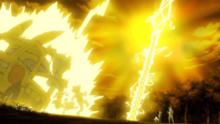 Pikachu de Ash y salvajes usando rayo.