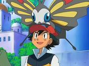 Beautifly sobre la cabeza de Ash.