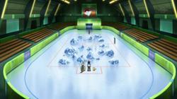 Campo de batalla del Gimnasio de Ciudad Teja en el anime
