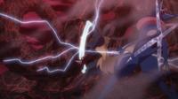 Mega-Lucario de Corelia usando ataque óseo.