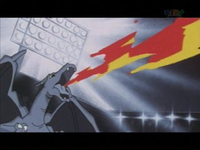 Charizard usando lanzallamas.