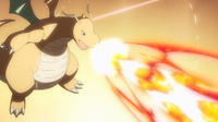 Dragonite de Lance usando hiperrayo.