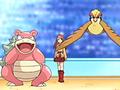 Solidad/Soledad junto a sus Pokémon.
