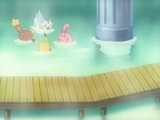 EP532 Buneary, Happiny, Pachirisu y Pikachu bañándose.png