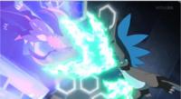 Mega-Charizard X de Alain usando garra dragón.