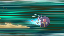 Scorbunny usando ataque rápido.