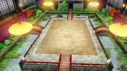 Campo de batalla del Gimnasio de Romantis en el anime