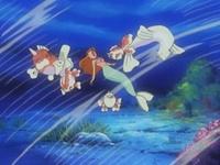 ... arrastrando a Misty y los otros Pokémon del gimnasio.