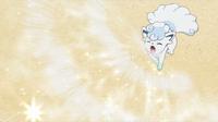 Shiron usando nieve polvo.
