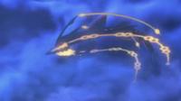 Mega-Rayquaza girando en aire...