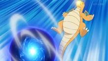Dragonite de Ash usando hiperrayo.