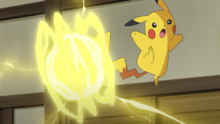 Pikachu de Ash usando electrotela.