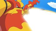 EP601 Magmortar activando Cuerpo llama contra Pikachu.png