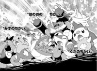 Amanda combinando su Voto planta con el resto de Pokémon iniciales de Teselia