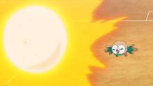 Rowlet de Ash usando bomba germen.