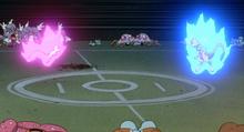 Mew y Mewtwo usando psíquico