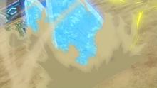 Tyranitar usando roca afilada.