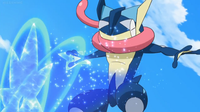 Greninja de Sanpei usando shuriken de agua.