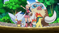 Dawn/Maya junto a sus Pokémon.
