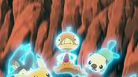 ...para salvar a los Pokémon de Ash e Iris de caer por un precipicio.