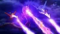 Rayquaza, Latios y Latias usando pulso dragón.