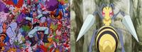 Comparación de un Beedrill normal (derecha), y un Beedrill con color diferente (izquierda).
