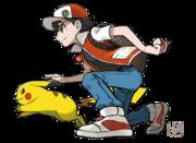 Artwork de Rojo y Pikachu por Ken Sugimori.png