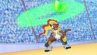 Ninjask usando gigadrenado, empezando a dar vueltas sobre su oponente...