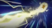 Pikachu usando Rayo para detener el ataque de Shinx.