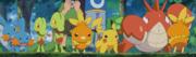 EP310 Mudkip, Treecko, Torchic y Pikachu viendo la batalla entre Corphish y Torchic.png