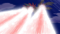 Hydreigon usando Hiperrayo para golpear al Dragonite de Iris
