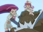 EP542 Jessie y la enfermera Joy poniendo rocas para frenar el escape de agua.png