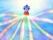 ...luego las tiras de su vestido se iluminan y comienzan a moverse.