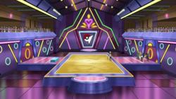 Campo de batalla del Gimnasio de Mayólica en el anime