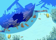 Mar del Tesoro en Equipo de Rescate Rojo y Azul
