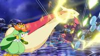 Chispazo del Charjabug de Sophocles/Chris en un ataque combinado junto a rayo burbuja y hoja mágica.