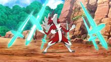 Lycanroc usando danza espada.