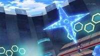 Greninja Ash usando un shuriken de agua gigante.