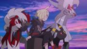 EP1080 Gladio con sus Pokémon contemplando la puesta de sol.png