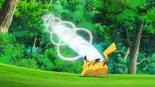 Riolu de Ash usando onda vacío.