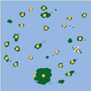 Localización de las siete Islas Toronja/Pomelo.