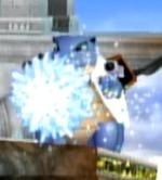 Blastoise usando hidrobomba