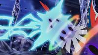 Rayo hielo del Absol de Samina chocando contra el pulso umbrío del Umbreon de Gladion/Gladio.