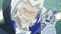 Profesor Tsuraraa con un control con forma de Vanillite.
